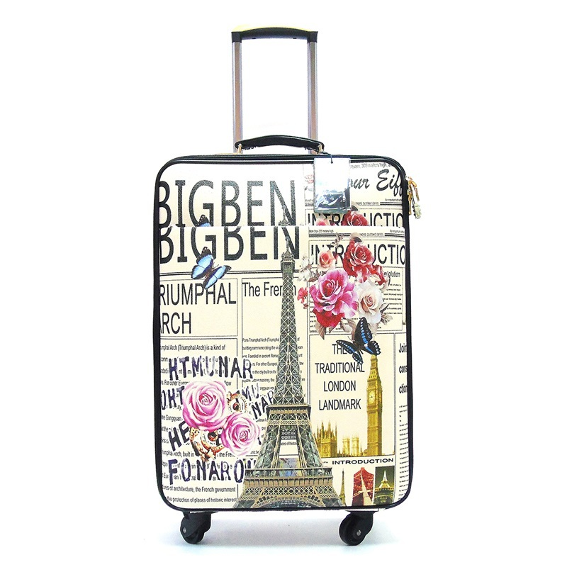 21d87424d939 Europe and America Vintage Patten,Travel pattern suitcase,PU Rolling ...
