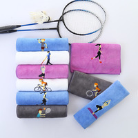 Cotton Embroidery Sports   Towel   Soft Absorbent Yoga Gym Camping Golf Fitness Sweat   Towel   Sports Cartoon   Towel   25*110cm