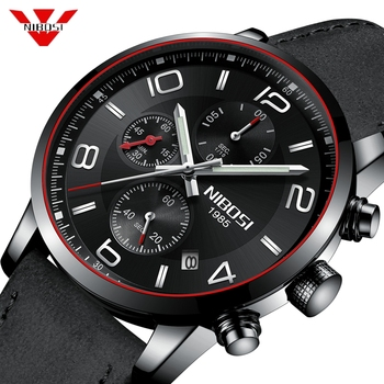 NIBOSI Chronograph Men Sport Watch Male Leather Automatic Date Quartz Watches Mens Top Luxury Brand Waterproof Relogio Masculino