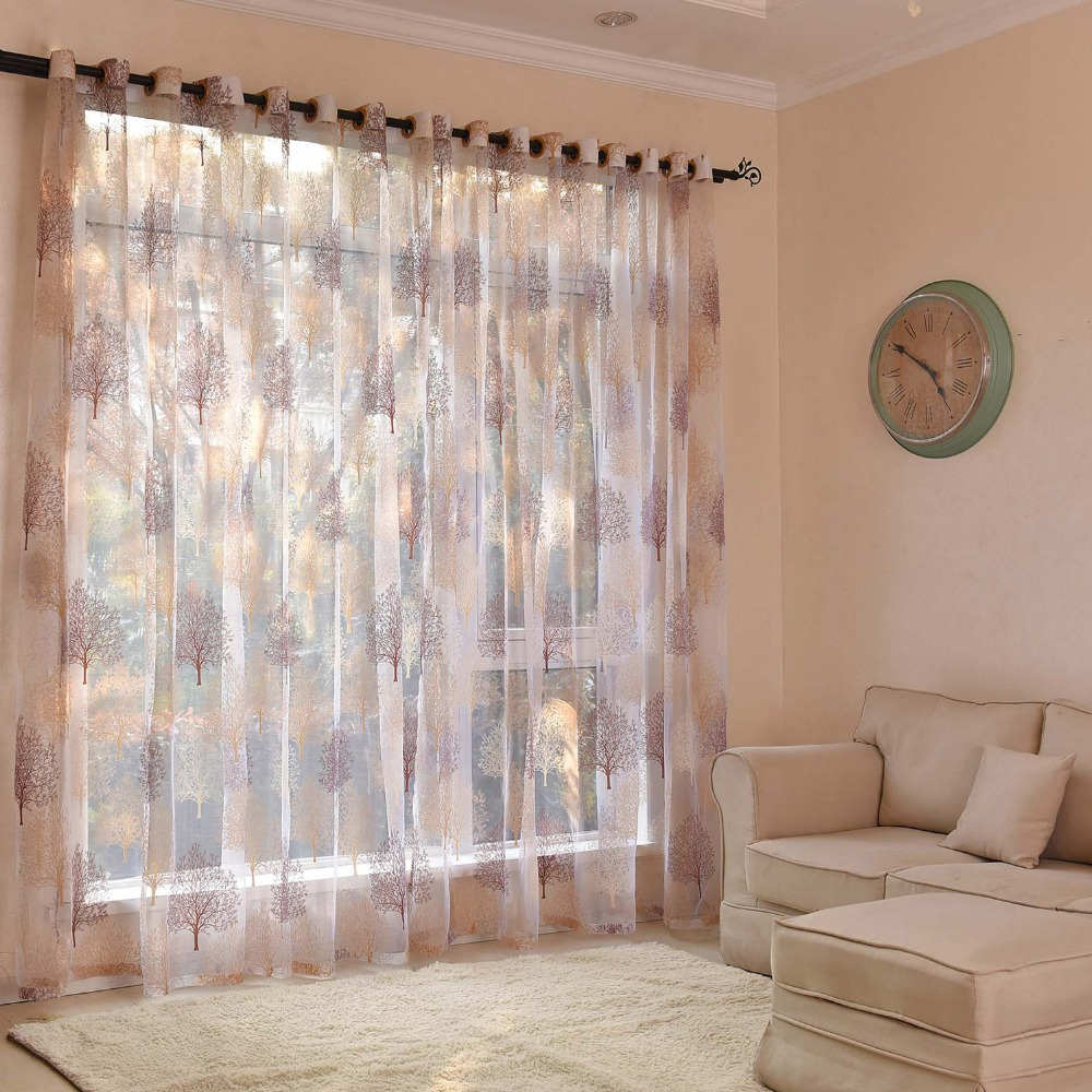 DHD Window Curtain Living Room Curtains Tulle For Decoration Embroidery Floral Bedroom