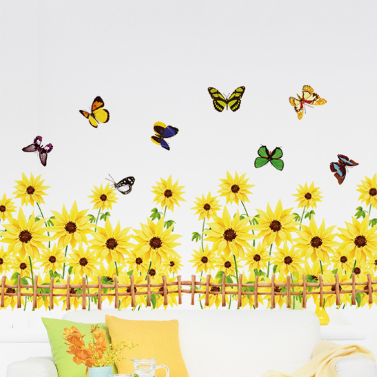 Warm Romantic Sunflower Skirting Line DIY Removable Wall Stickers Wall Decal Home Decor Wallpaper Small Size AM5002