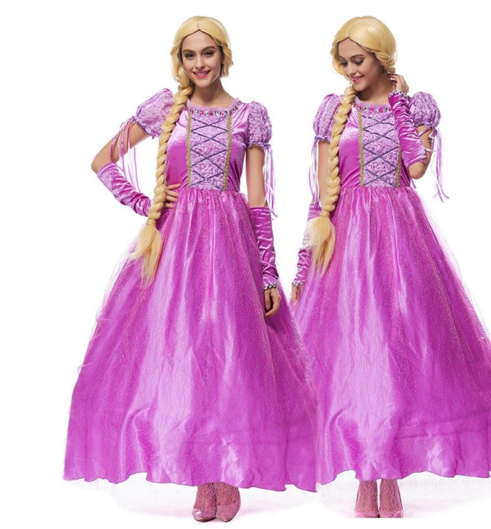 Alta calidad adulto Niñas Rapunzel vestido de lujo púrpura mujeres ...