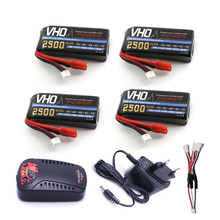 VHO Power Syma X8W RC Drone Lipo Battery 4pcs 2S 7.4v 2500mAh and EU charger For Syma X8C X8W X8G X8HG RC helicopter Spare Parts