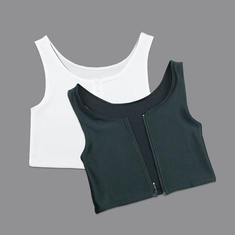 Summer Comfortable Corset Flat Breast Binder Bamboo Charcoal Zipper Short Corset Les Large Size S-3XL Black White