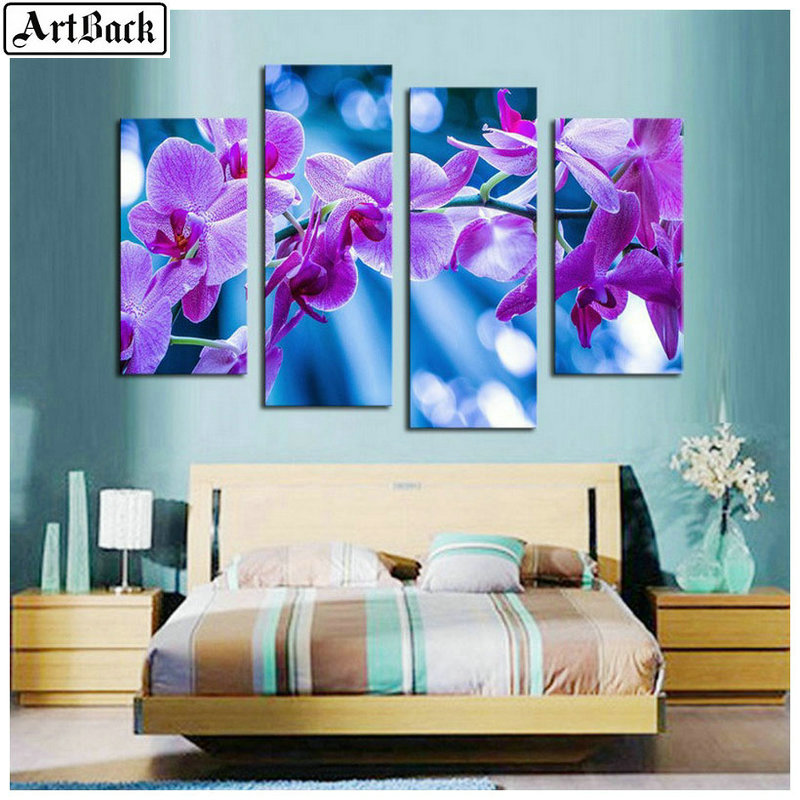 1 set of 4pcs diamond painting purple flowers full square diamond embroidery 3d round drill embroidery wall stickers daffodils in Diamond Painting Cross Stitch from Home Garden