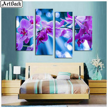 1 set of 4pcs diamond painting purple flowers full square diamond embroidery 3d round drill embroidery wall stickers daffodils j lennington daffodils