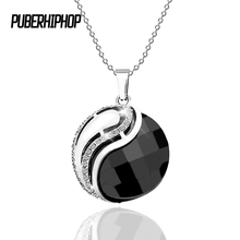 Bling Crystal Yin Yang Charms Necklace Tibet Bagua Array Black White Ceramic Pendant Necklace Lucky Chain For Women Jewelry
