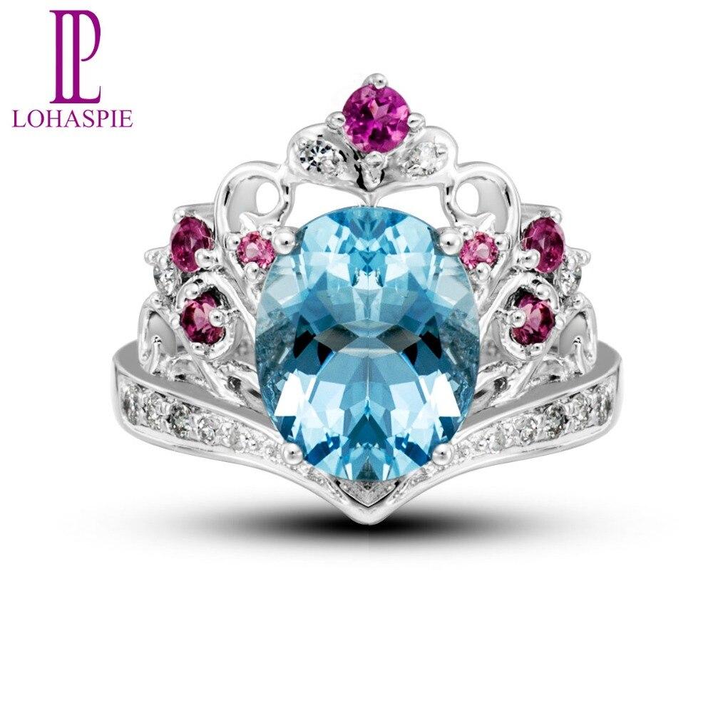 Lohaspie Natural Gemstone Aquamarine & Diamond & Tourmaline Solid 18k White Gold Vintage Rings For Women Fine Jewelry