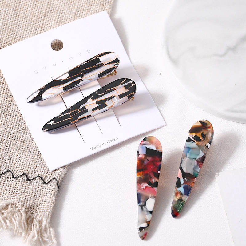1Set=2PCS New Women Elegant Marble Pattern Leopard Hair Clips Girls Fashion Hairpin Barrettes   Headwear   Headband Hair Accessories