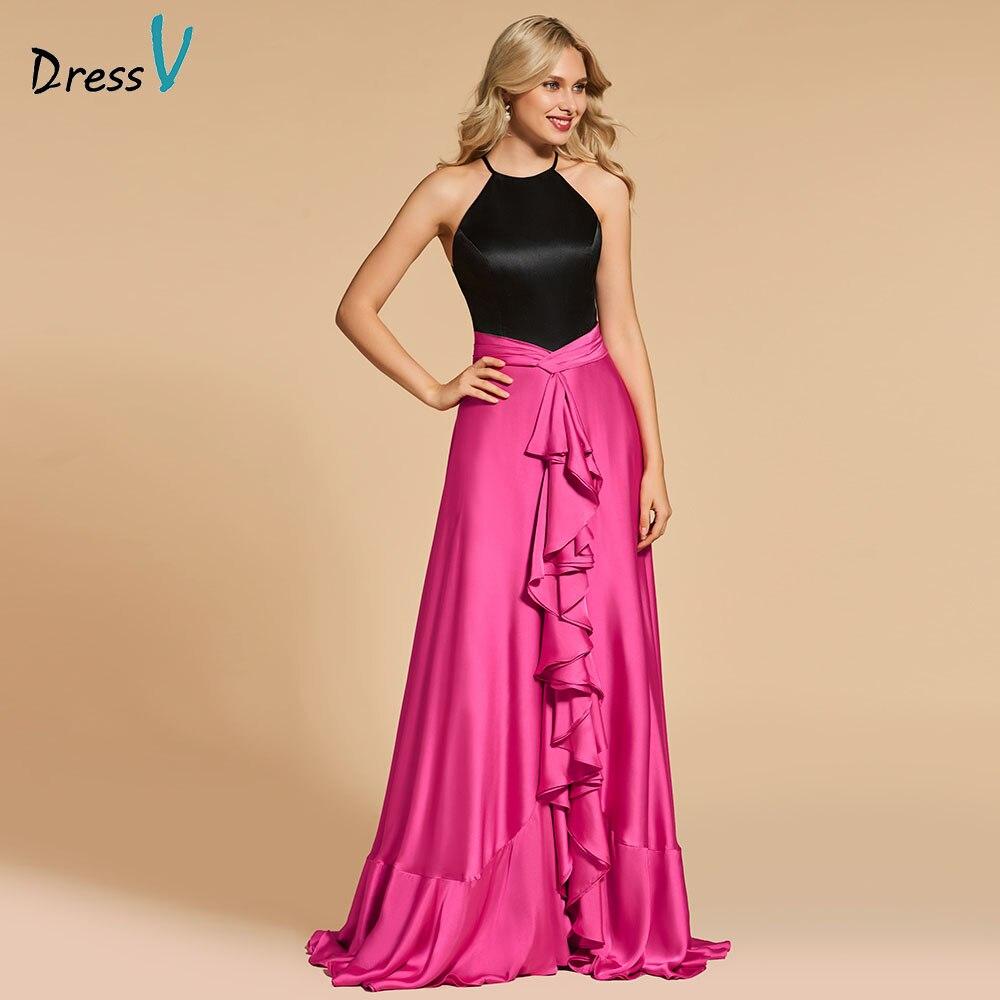 Dressv Evening Dress Scoop Neck A Line Elegant Sleeveless Floor-length Ruffles Wedding Party Formal Dress Evening Dresses