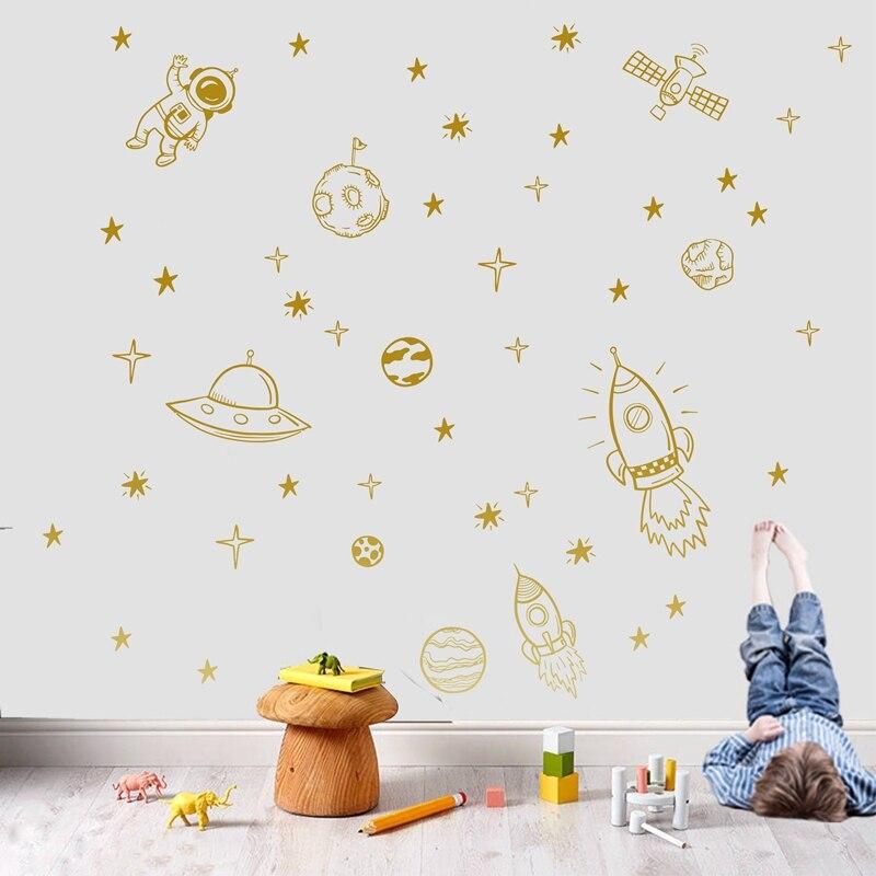 MIROIR STICKER COULEUR déco espace fusée orangé