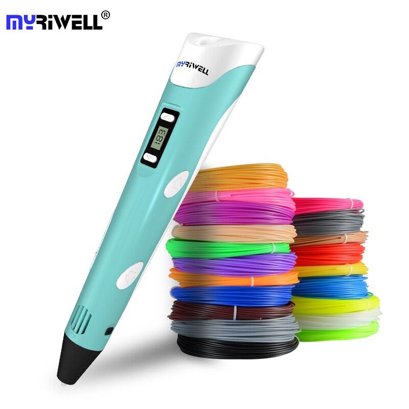 Myriwell 3D Pen pantalla LED DIY 3D bolígrafo de impresión 100 M ABS filamento creativo juguete regalo para niños diseño de dibujo