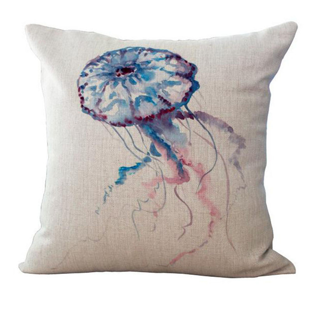 Watercolor Sea World Print Cushion Cover 3