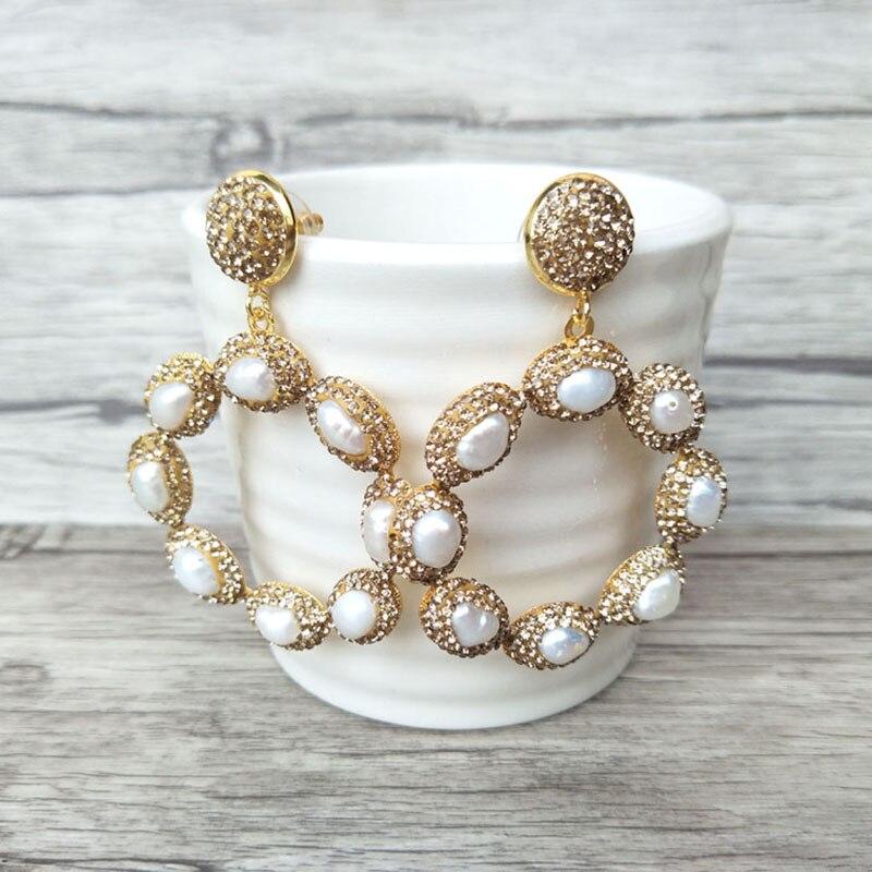 1/5 Pairs Gorgeous Flower Vintage Pendants,Water Drop Pave Rhinestone Crystal Pearl Charm Bohemian Style Women Earrings ER630