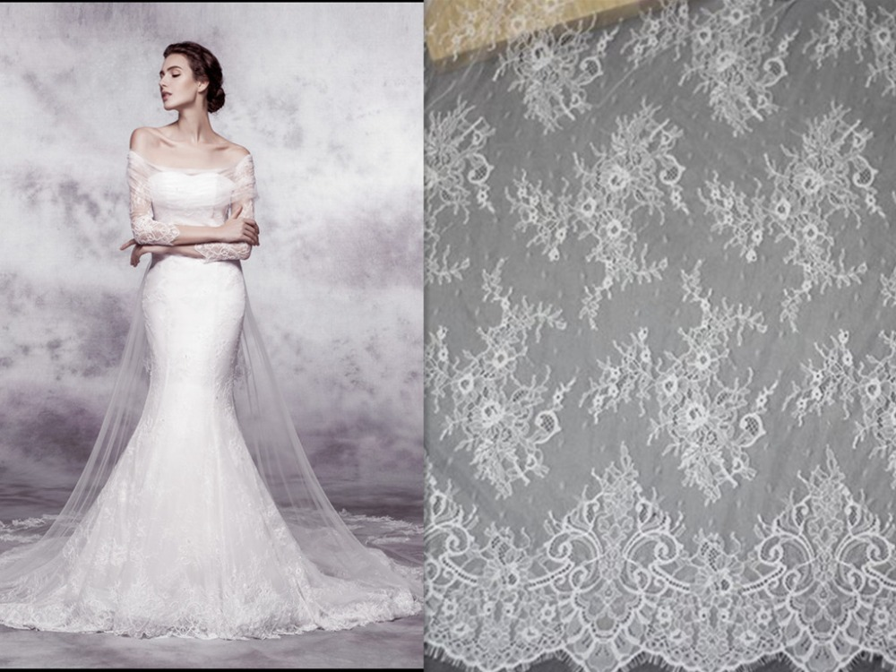 French Lace Wedding Gown: Elegant Thin Corded Full Flower High Quality Off White