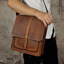 Высокое качество crazy horse кожа воловья Натуральная кожа Мужская Повседневная винтажная сумка через плечо 5867-b
