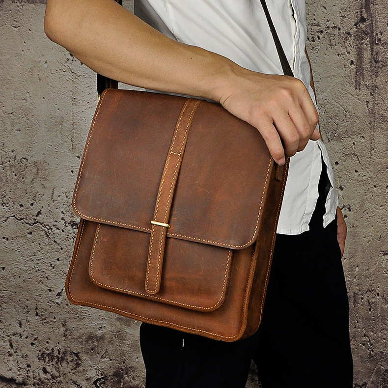 купить High quality crazy horse leather cowhide genuine leather male casual vintage cross-body messenger bag недорого