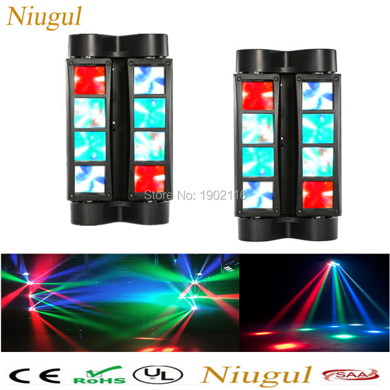 2pcs/lot RGBW Double Head 8x10W led Moving Beam Mini led Spider Light DMX512 Control for Stage disco dj equipment Free shipping  profession stage lighting 8x10w rgbw mini led spider moving head beam light dmx led spider light led moving head dj disco lights