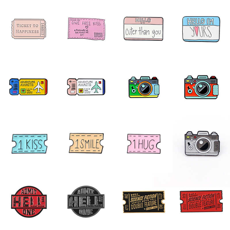 Cartoon Creatieve Tickets Film Tickets Camera Liefde Sticky Notes Emaille Broche Rood Zwart Roze Legering Badge Overhemd Zak Pin Sieraden