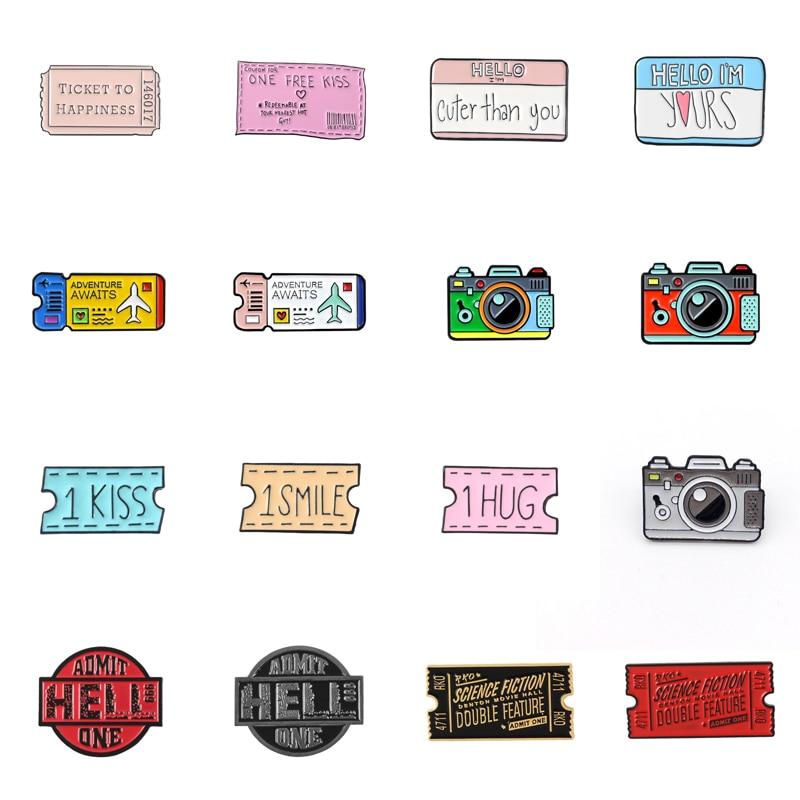 Эмалированная брошь в виде мультяшных необычных билетов фильмов билетов камеры любимых клейких заметок Красного черного розового цвета из...