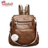 Fashion Women Backpack Black Brown Designer Bags Pu Leather Bag Solid Color Backpacks Female Hairball Shoulder