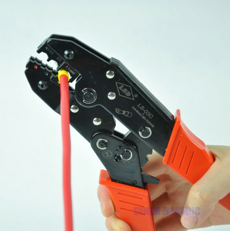 Ratchet Crimping Tool Insulated Terminals Crimping Tool For Plier Crimper 0.5-6mm2 AWG20-10 LS-03C insulated terminals ferrules crimping carbon pliers ratcheting crimper tool 5 interchangeable tips screwdriver black storage bag