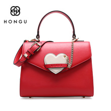 Hongu Light Luxury Genuine Leather Women Heart ornaments Cover handbag Famous Brand Lady Crossbody Killer Shell Bag design louis