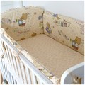 Promotion! 6PCS Bear Baby Bedding Sets Baby Bed 100% Cotton Baby Bedclothes (bumper+sheet+pillow cover)