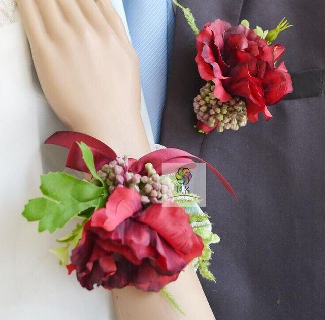 Novo partido casamento broches de flor romântico noiva pulso Red & Pink flor Mens broches terno