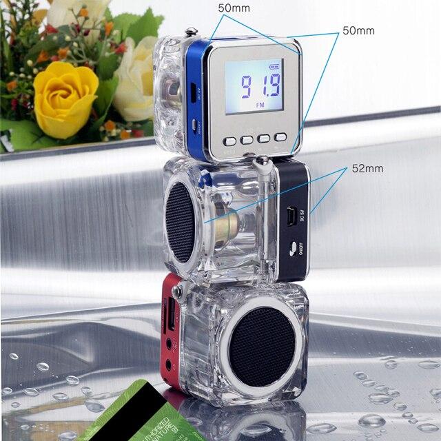 Receptor de Radio FM portátil, minialtavoz estéreo de sonido LCD Digital, microSD/TF, música para teléfono móvil, MP3, PK TDV26