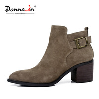 Donna In Fashion New Styles Nubuck Calf Leather Short Boots Pointed Toe Women Boots Square High