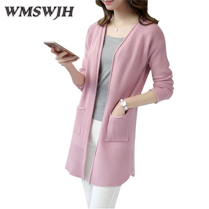 WMSWJH podzim nový dámský pletený svetr s výstřihem do krku s dlouhým rukávem Cardigan College Wind Coat volný módní pletený svetr WJH130