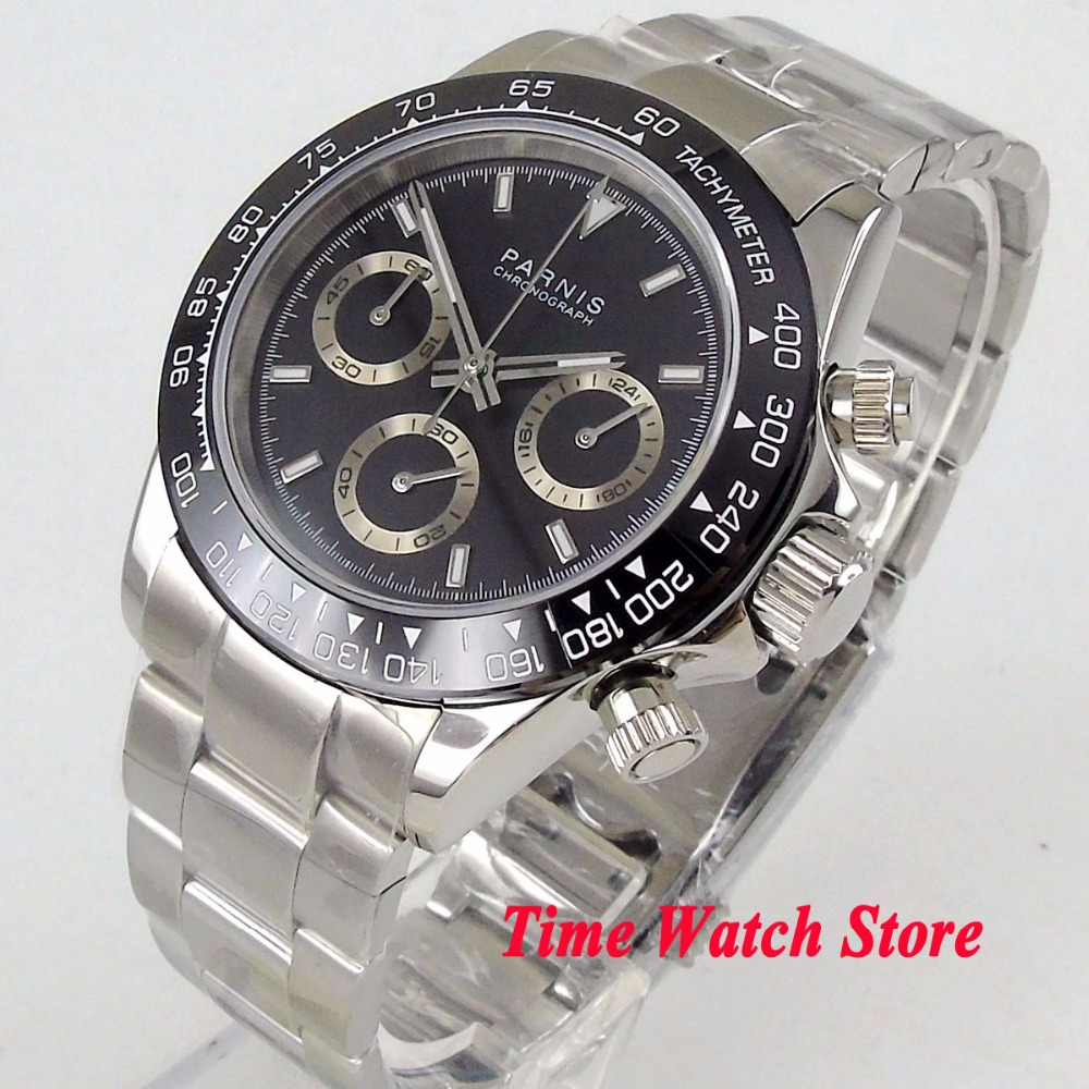 Solid 39mm PARNIS Quartz mens watch Full Chronograph black dial luminous sapphire glass black bezel stop watch men 1178Solid 39mm PARNIS Quartz mens watch Full Chronograph black dial luminous sapphire glass black bezel stop watch men 1178