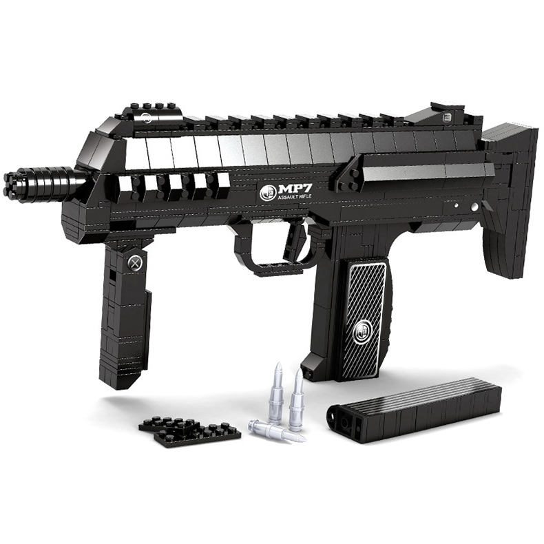 508 PCS DIY Nerfs Elite Gun MP7 Submachine Gun Machine Carbine Toy Gun Model Building Block Set Plastic Toy Gift For Children стоимость