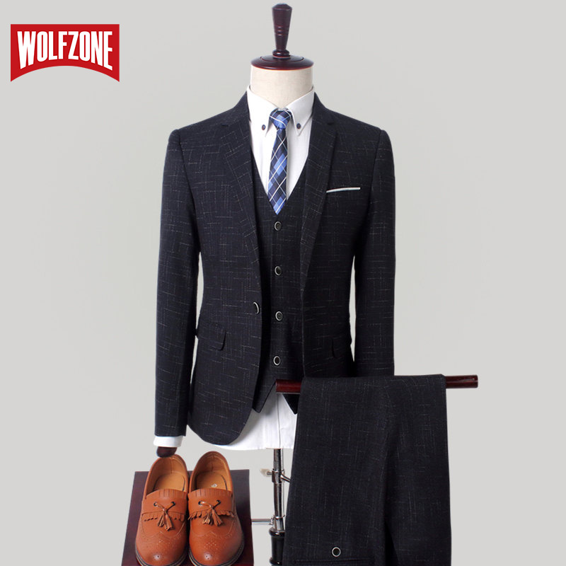 WOLF ZONE High Quality Slim Fit Men Suit Wedding Party Man Costume Comfortable Male With Suits Pants And Vest Men's Blazer