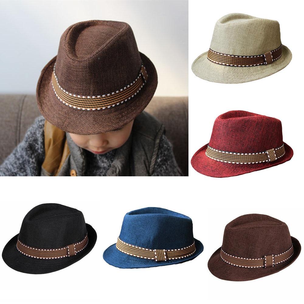 629543198ca4f 1000X Fashion Floppy Hat Kids Boy Girl Unisex Fedora Hat Contrast Trim Cool  Jazz Hat Trilby Cap Chapeau masculino summer Sun Hat