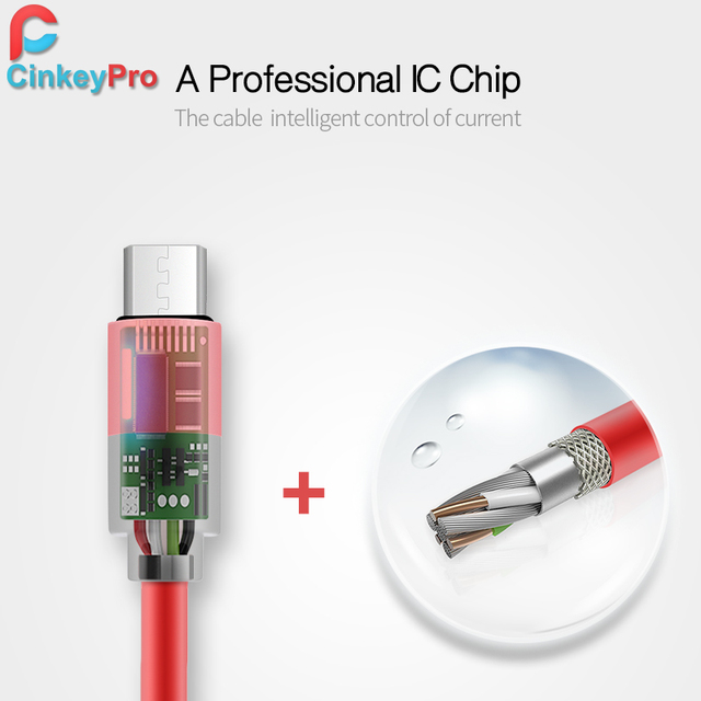 CinkeyPro Micro USB Cable For iPhone iPad Samsung XiaoMi 1M Aluminum Mobile Phone Cables Data Charging Charger