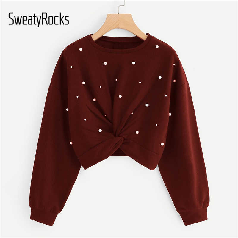 Sweatyrocks Burgundy Twist Detail Manik-manik Dekorasi Sweatshirt Lengan Panjang Tanaman Pullovers Tops 2018 Musim Gugur Wanita Kaus