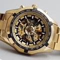 Venda de Luxo Hot Ouro Luminosa Mecânico Automático de Esqueleto Dial Aço Inoxidável Banda Relógio de Pulso Das Mulheres Dos Homens Melhor Presente M106-1