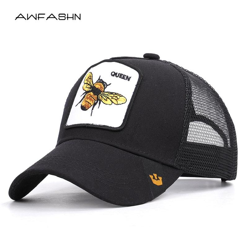 2019 new fashion bee embroidery mesh   baseball     cap   Spring summer Hat Women Men animal adjustable snapback outdoor shade bone