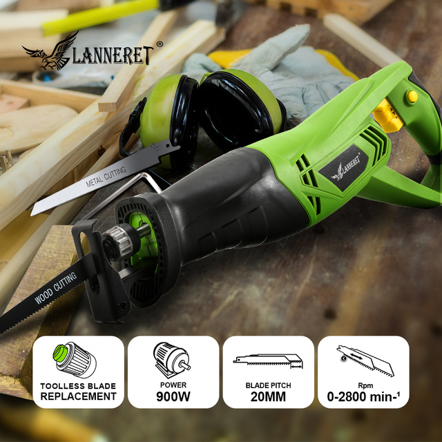 LANNERET 900W Electric Reciprocating Saw Woodworking Metal Cutting Saber Hand Saw Variable Speed Multi-function Power Tools 5