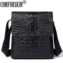 цены COMFORSKIN New Arrivals Large Capacity Men Messenger Bags 2018 Hot Brand Crocodile Pattern Genuine Leather Bags Shoulder Bag