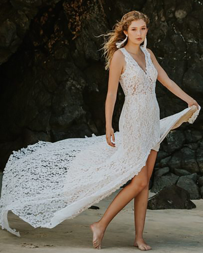SoDigne Beach Lace Wedding Dress  Mermaid Appliques  Bride Dress Side Split Custom Made Sexy Backless Wedding Gowns