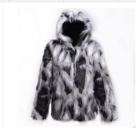 Candid Mens Faux Fur Jackets Casual Patchwork Male Man-made Fur Jackets Large Size Hooded Mixed Color Fur Overcoats Winter Clotehs C24 Jackets & Coats Men's Clothing