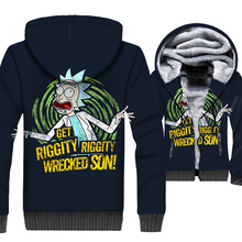 men streetwear harajuku brand tracksuits 2019 newest 3D Print jackets coats winter thick wool liner Anime rick and morty hoodies