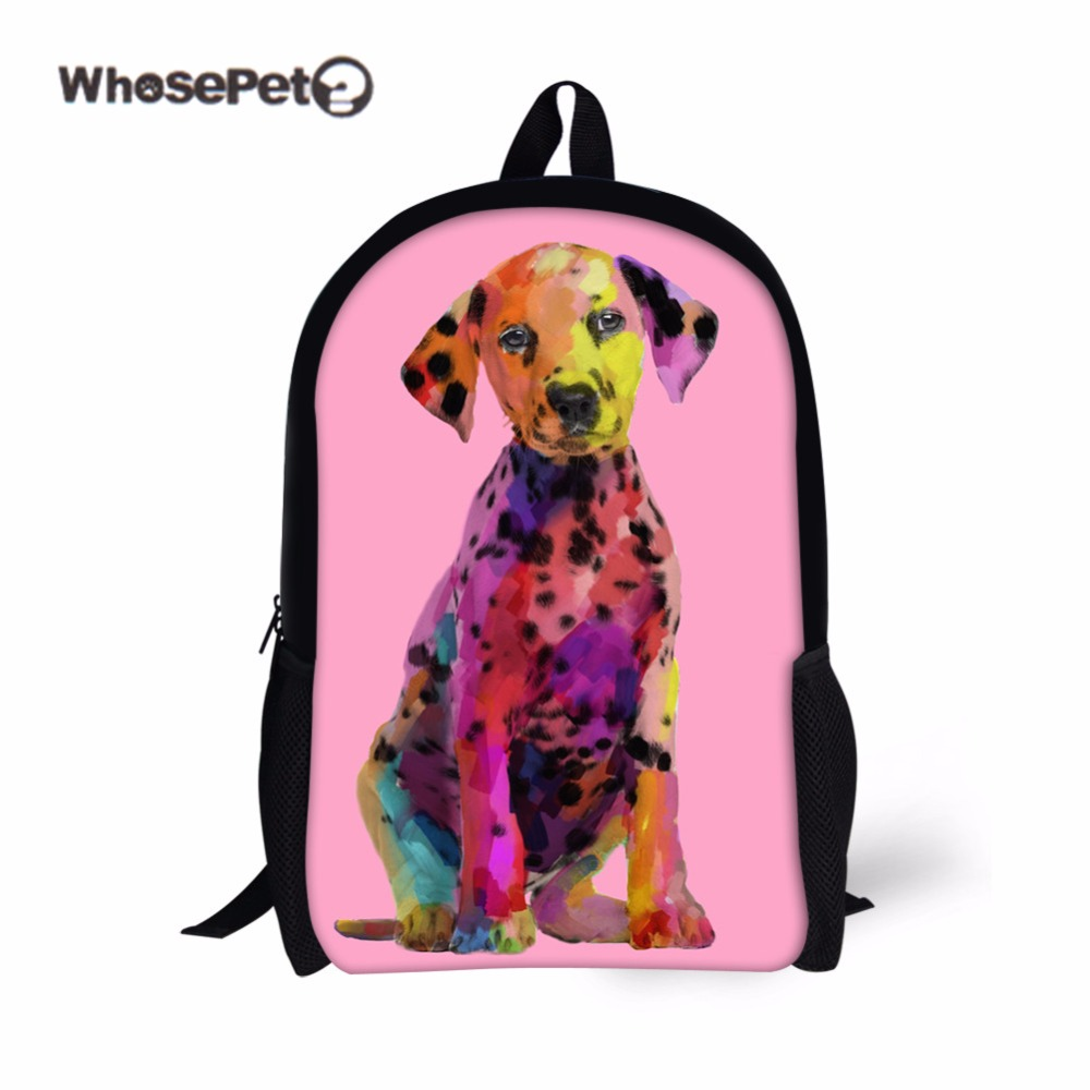 WHOSEPET Cute Dog School Bags for Girls Casual Kids Women Shoulder Schoolbag Animals Book bag Mochila Escolar Pink Shoulder Bag