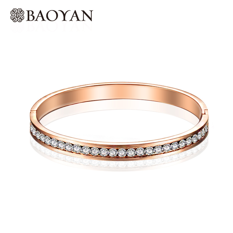 Baoyan 316L Stainless Steel Fashion Chic Cute Ladies Crystal Paved Rose Gold Color Bangle for Women Wholesale