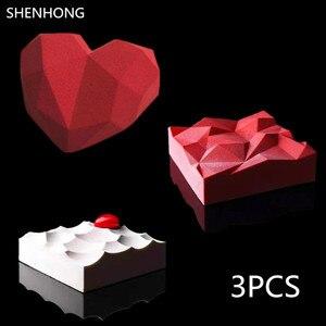 Силиконовая форма для торта, 3 шт., Алмазное сердце, 3D, триангуляция, лава, муссы, сковорода, мороженое, конфета, жаропрочная посуда для десерт...