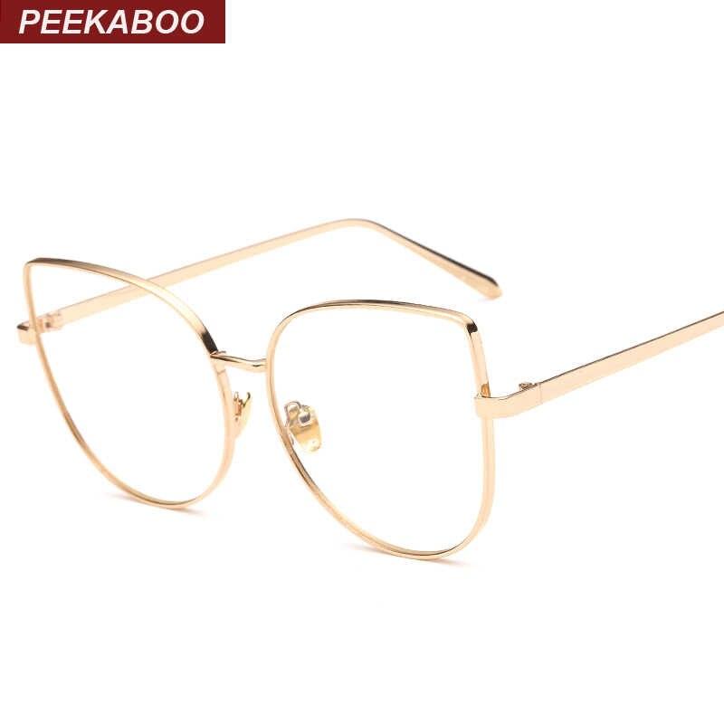 beb66a357655 Peekaboo new sexy big cat eye glasses frames for women brand black silver  gold clear fashion