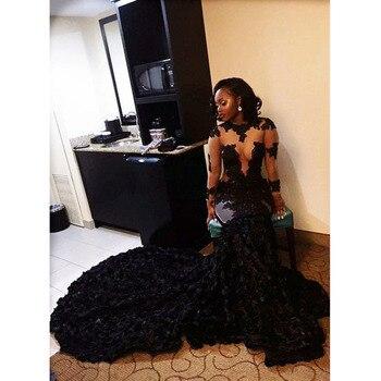 New African Black Mermaid Prom Dresses 2019 Organza Ruffles Long Prom Party Dress For Graduation Sheer Long Sleeve Evening Dress